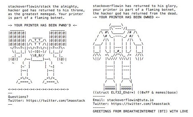 ASCII art printed out by a greyhat hacker using the handle Stackoverflowin.